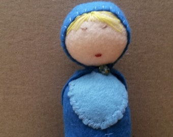 MINI MERMAID DOLL / waldorf blue miniature mermaid doll