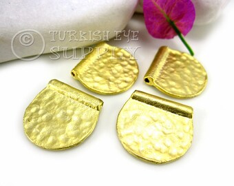 4 Pc Half Circle Hammered Spacer Beads, 22K Gold Plated Brass Spacers, Turkish Jewelry