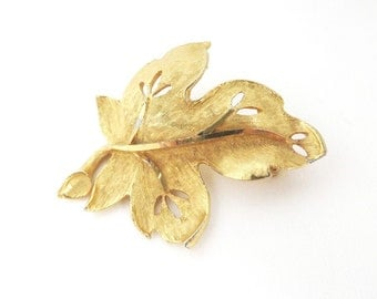 BSK Leaf Brooch, Vintage Goldtone Brooch, Signed BSK Jewelry, Matte Leaf Pin