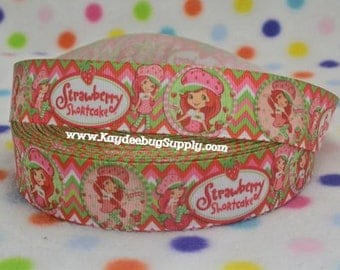 3 yards Shortcake - Red Pink Green Chevron - 1 inch - CHOOSE DESIGN - Printed Grosgrain Ribbon