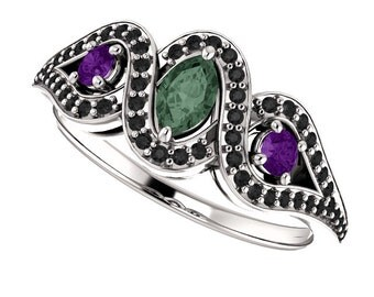 Color Change Alexandrite, Amethyst & Black Diamonds in 14K White Gold
