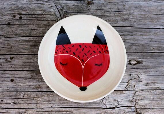 Servire in ceramica ciotola - piatto da portata bianco ciotola - illustrazione di volpe - Volpe illustrata - rosso volpe - regalo di Natale - fatta per ordine