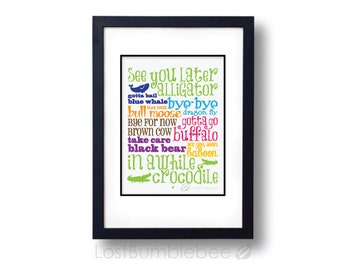 Farewells! See You Later Alligator, In Awhile Crocodile Children's Poem, Bright colourful LARGE INSTANT DOWNLOAD,
