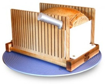 Wood Foldable Bread Slicing Guide. Great For Homemade Bread, Bread Machines Or Unsliced Bread. Perfect Slicing Made Easy!