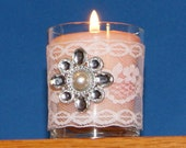 Wedding Votive Candle Holder / White Lace Votive Holder / Victorian Wedding Decor / Shabby Chic Wedding Decoration / Rhinestone Brooch / 6