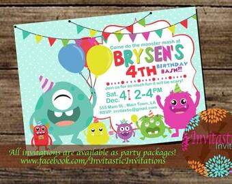 Monster Birthday Party Invitation - Kids Monster Party, Come do the Monster Mash Party Invitation  - Printable Invitation  - DIY