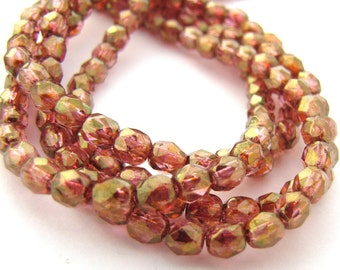 Luster Rose Gold Topaz 4mm Facet Round Czech Glass Fire Polished Beads 50pc #1511