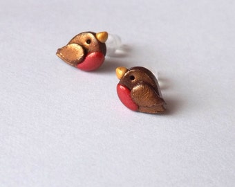 Small Robin Stud Earrings - Hypoallergenic Nylon Posts - Bird Earrings - Plastic Posts for Sensitive Ears - Bird Lover Gift Idea - Clay Bird