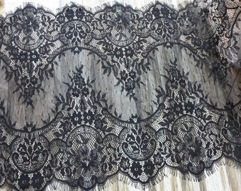 Black Eyelash Lace Floral Fabric Scalloped Trim 16 inches wide 3 yards