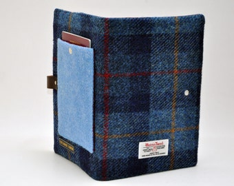 HARRIS TWEED fabric A5 notebook cover - with Passport pocket