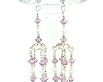 Sweet but Sassy, Sterling Silver, Swarovski Crystal, Pink, Chandelier, Gift Idea