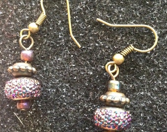 Dazzling crystal and copper earrings