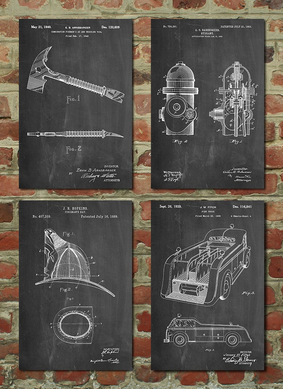Firefighter Living Room Decor: Firefighter Patent Poster Group Of 4 Firefighter Wife