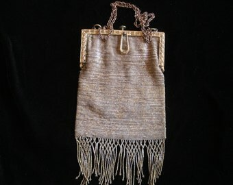 Antique FRENCH Cut Steel Beaded Purse with Intricate Fringe Design
