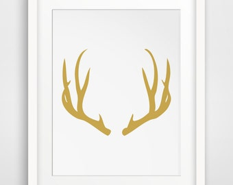 Yellow Nursery, Yellow Decor, Yellow Kitchen, Gold Deer, Gold Antlers, Yellow Home Decor, Yellow Print, Yellow Wall Decor, Yellow Wall Art