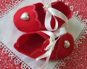 Sweet Valentine red felt booties with pearl heart.  Wonderful for 3-6 month old photos or Valentine parties.