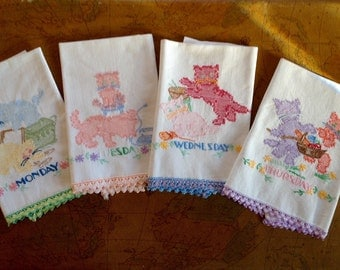 Vintage Hand Embroidered M-T-W-TH Kitty Days of the Week Hand Towels