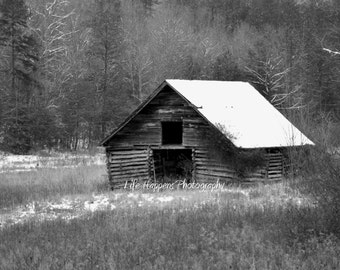 photography, art print, black and white, old barn, north georgia, landscape