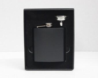 Personalized Groomsmen Gift Set of 3 - Custom Engraved Leather Liquor Flask & Funnel Set - Monogrammed Flasks - Groomsman - Best Man