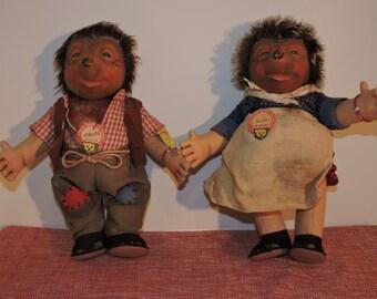 2 STEIFF Hedgehog Dolls, Mecki & Micki