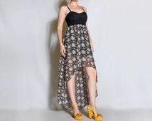 5 Dollar SALE V I N T A G E floral dress with hi lo hem
