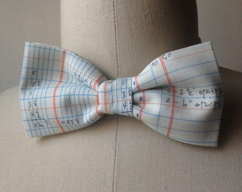 Accounting/Ledger bow tie with adjustable strap, Mens bowtie
