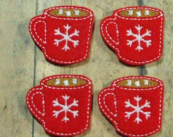 Cup of Hot Chocolate Cocoa felties - machine embroidered - applique - hairbow center - felt embellishment