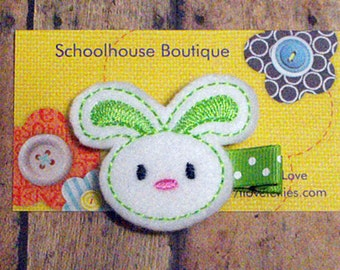 Green Bunny felt Hair Clips, Easter Basket Filler, Felties, Felt Hair Clips, feltie hair clip, Felt Hair Clippie, Hair Accessories