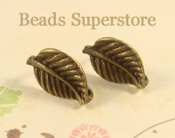 17 mm x 10 mm Antique Bronze Leaf Ear Stud - Nickel Free, Lead Free and Cadmium Free - 6 pcs