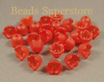 10 mm x 6 mm Red Lucite Flower Bead - 20 pcs