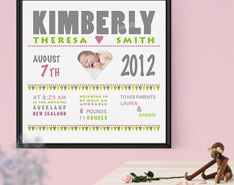 "Baby Birth Announcement Wall Canvas 12""x12"""