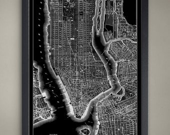 NEW YORK CITY Map Print Poster