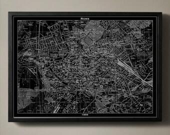 ROME Map Print, Black and White Rome Wall Decor