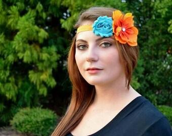 Teal orange flower headband fall flower headband womens headband teen girl tween flower headband newborn headband orange flower headband