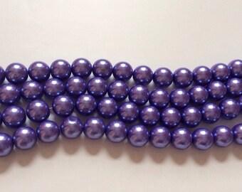 40 pcs14 mm Glass Pearl Beads,Purple,round beads,Pearl bead,BubbleGum bead, purple bead,purple glass bead, glass bead,mixed glass bead