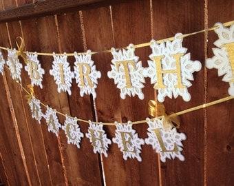 Happy birthday snowflake banner