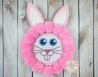 Easter Bunny Pink Yarn Wreath - Bunny Pom Pom Yarn Wreath - Pom Pom Yarn Wreath - Pink Yarn Wreath - Easter Wreath - Easter Bunny Wreath