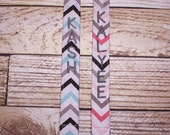 Personalized Pacifier Clips with plastic clip, Michael Miller Chevron Pacifier Clips - Mam Gumdrop Nuk Avent Soothie Binky Clips