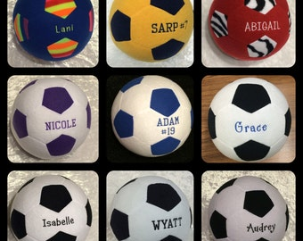 Embroidered Plush Soccer Ball *new prints and fonts*