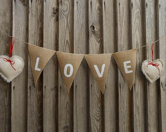 Valentines Day Decor Valentines Day Bunting Love Banner Wedding Banner Wedding Decor Burlap Banner Burlap Love Banner Love Bunting