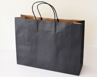 LARGE Boutique Black Kraft Paper CARRY BAGS - 257 (h) x 342 (w) x 106 (g) mm - Perfect for Gifts / Markets / Fairs / Craft