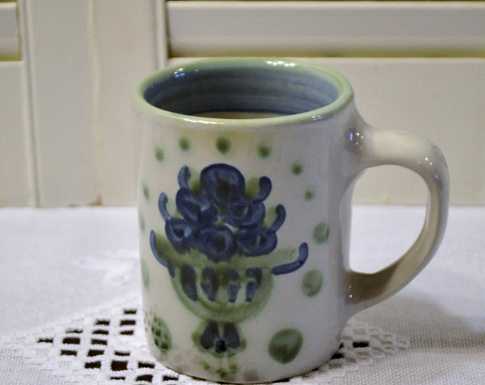 Vintage M A Hadley Cup Mug Louisville Pottery Blue Green Stoneware PanchosPorch