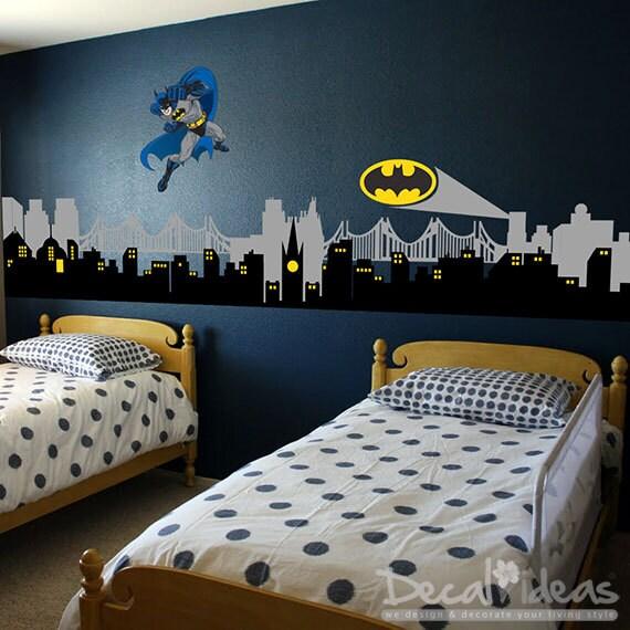 City skyline city buildings with superhero emblem vinyl wall for Batman cityscape wall mural