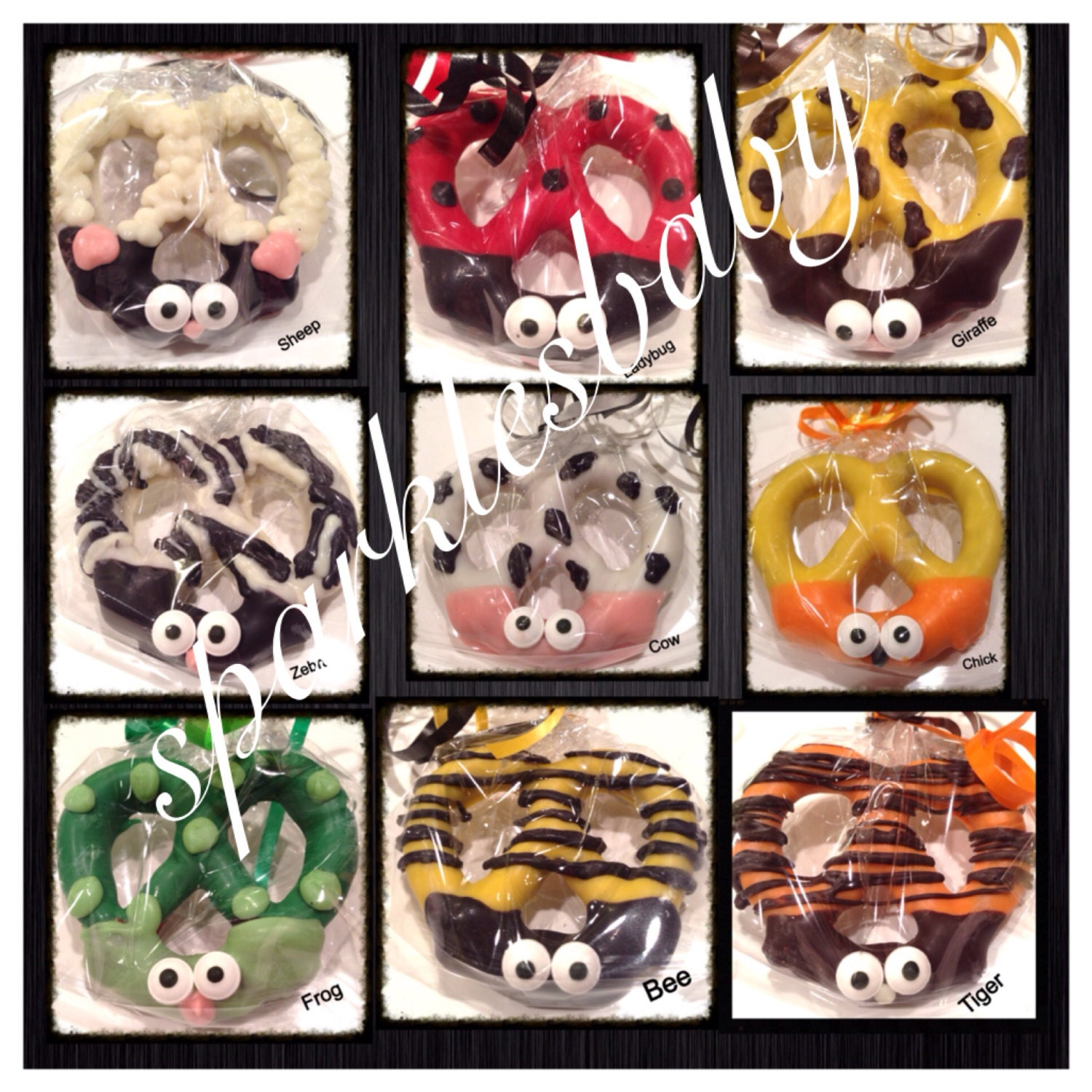 Ladybug Cow Bumble Bee Sheep Zebra Giraffe Chick Frog Tiger Chocolate Covered Pretzels Centerpiece Or Candy Table Set Of 12