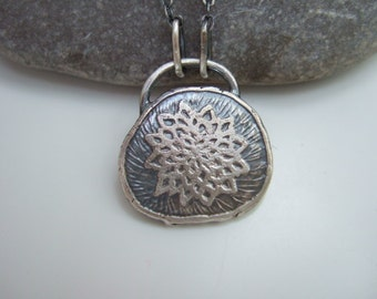 Chrysanthemum Flower, Hand Crafted Sterling Silver Pendant Necklace, All Sterling Silver, Rustic, Organic, Everyday Wear