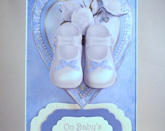 Handmade Christening Card for boy, decoupage,3D, shoes,personalise