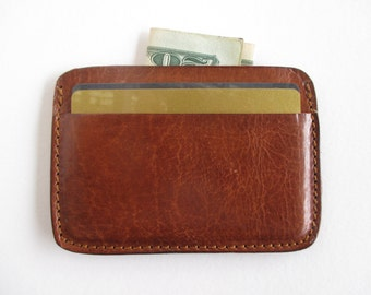 Leather credit card holder in cognac, minimalist wallet