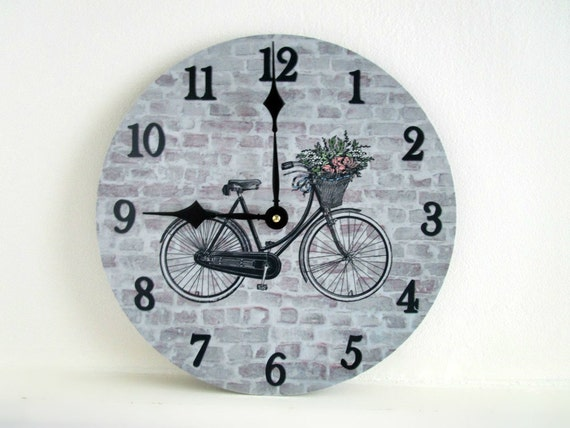 Bike Design Wall Clock : Bicycle wall clock rustic home decor bike
