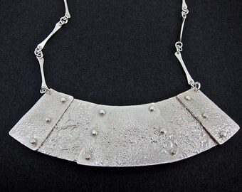 stunning reticulated silver necklace, riveted and forged chain