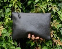 Medium Black Pebbled Leather Clutch, Pebbled Italian Leather Clutch, Oversize Clutch, iPad Case